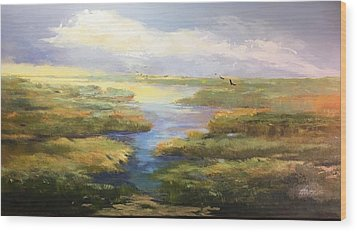 Wood Print featuring the painting Wetlands by Helen Harris