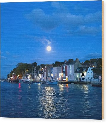 Weymouth Harbour, Full Moon Wood Print by Anne Kotan