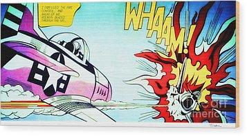Whaam Wood Print by Roy Lichtenstein