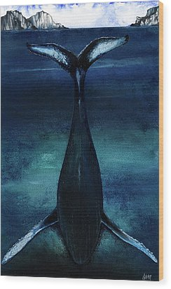 Wood Print featuring the mixed media whale II by Anthony Burks Sr