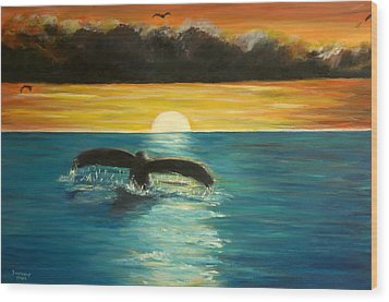 Whale Tail At Sunset  Wood Print by Bernadette Krupa