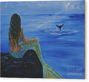 Whale Watcher Wood Print by Leslie Allen