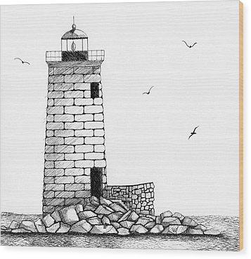 Whaleback Ledge Lighthouse Wood Print by Tim Murray