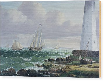 Whalers Coming Home Wood Print by American School
