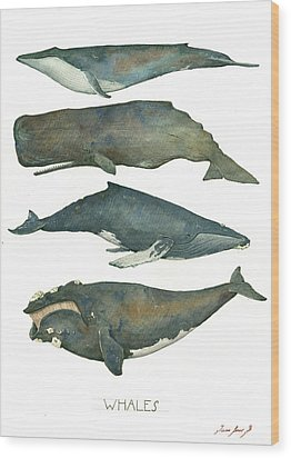 Whales Poster Wood Print by Juan Bosco