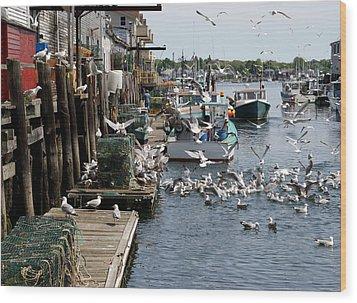 Wood Print featuring the photograph Wharf Action by Lynda Lehmann