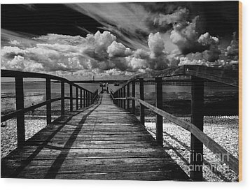 Wharf At Southend On Sea Wood Print by Avalon Fine Art Photography