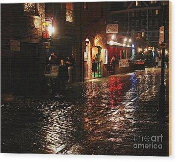 Whart Street In The Night Rain Wood Print by Maria Varnalis