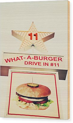 What A Burger Wood Print by Kim Fearheiley