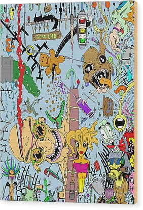 What A Mess Color Wood Print by Jack Norton