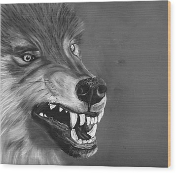 What Big Teeth You Have Wood Print by Jessica Kale