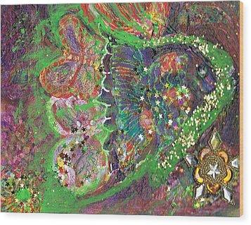 What Cha Doin Friday Night Mr. Turtle Wood Print by Anne-Elizabeth Whiteway