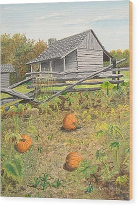 What's Left Of The Old Homestead Wood Print by Norm Starks