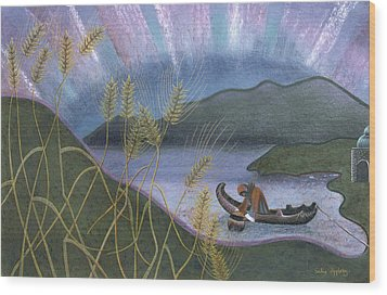 Wheat And Northern Lights Wood Print by Sally Appleby