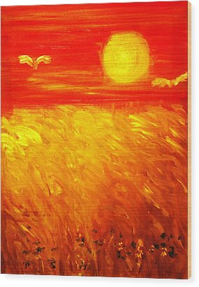 Wood Print featuring the painting Wheat Field by Evelina Popilian