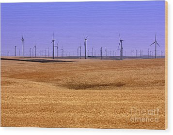 Wheat Fields And Wind Turbines Wood Print by Carol Groenen