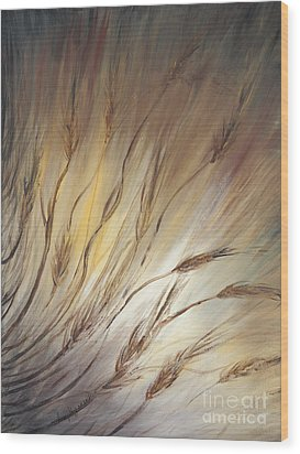 Wheat In The Wind Wood Print by Nadine Rippelmeyer
