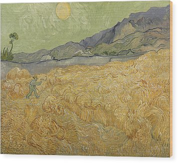 Wheatfield With Reaper Wood Print by Vincent Van Gogh