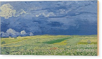 Wheatfields Under Thunderclouds Wood Print by Vincent Van Gogh