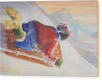 Wood Print featuring the painting Wheee by Marilyn Jacobson