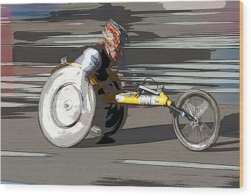 Wheelchair Racer Wood Print by Clarence Holmes
