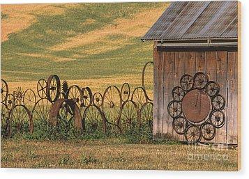 Wheels Of The Palouse Wood Print by Sandra Bronstein
