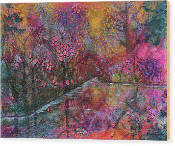 When Cherry Blossoms Fall Wood Print by Donna Blackhall