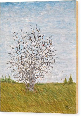 When The Apples Are Gone Wood Print by Norman F Jackson