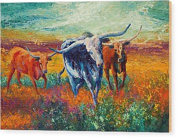 When The Cows Come Home Wood Print by Marion Rose