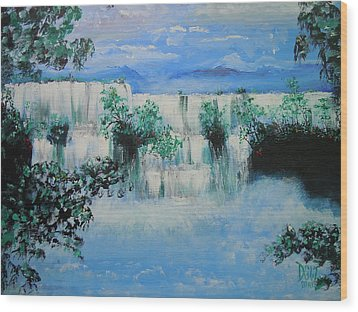 Wood Print featuring the painting When The Rivers Rise by Dan Whittemore