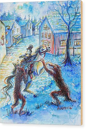 Wood Print featuring the painting When Werewolves Attack by Heather Calderon