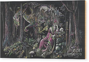 When Wizards Dream Wood Print by Stanley Morrison