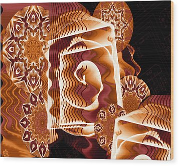 Wood Print featuring the digital art When Worlds Kaleide by Charmaine Zoe