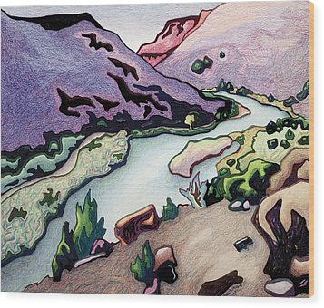 Where I Cross The Rio Grande Wood Print by Dale Beckman