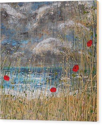Where Poppies Blow Detail Wood Print