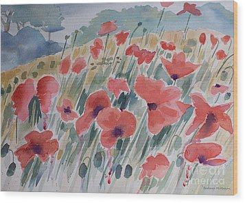 Where Poppies Grow Wood Print by Barbara McMahon