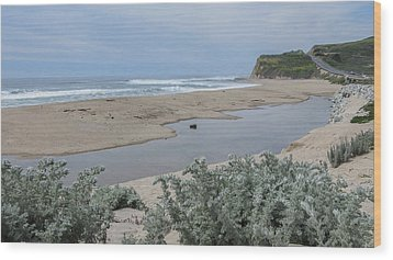 Where Scott Creek Meets The Ocean Wood Print by Mark Barclay