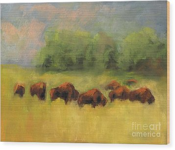 Where The Buffalo Roam Wood Print by Frances Marino