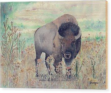 Where The Buffalo Roams Wood Print by Arline Wagner