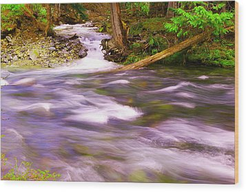 Wood Print featuring the photograph Where The Stream Meets The River by Jeff Swan