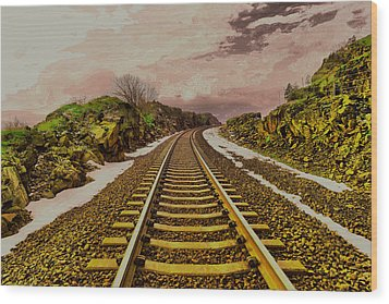 Wood Print featuring the photograph Where The Track Bends by Jeff Swan