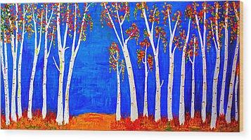 Whimsical Birch Trees Wood Print
