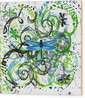 Whimsical Dragonflies Wood Print by Genevieve Esson