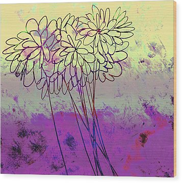 Whimsical Flower Bouquet Wood Print by Ann Powell