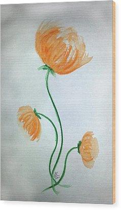 Whimsical Flowers Wood Print