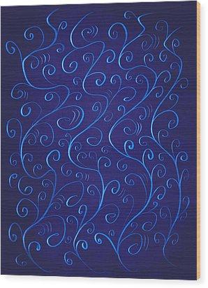 Whimsical Glowing Blue Swirls Wood Print