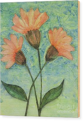 Whimsical Orange Flowers - Wood Print by Helen Campbell