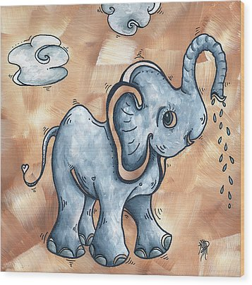 Whimsical Pop Art Childrens Nursery Original Elephant Painting Adorable By Madart Wood Print by Megan Duncanson