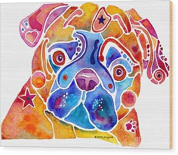 Whimsical Pug Dog Wood Print