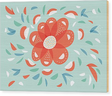 Whimsical Red Flower Wood Print